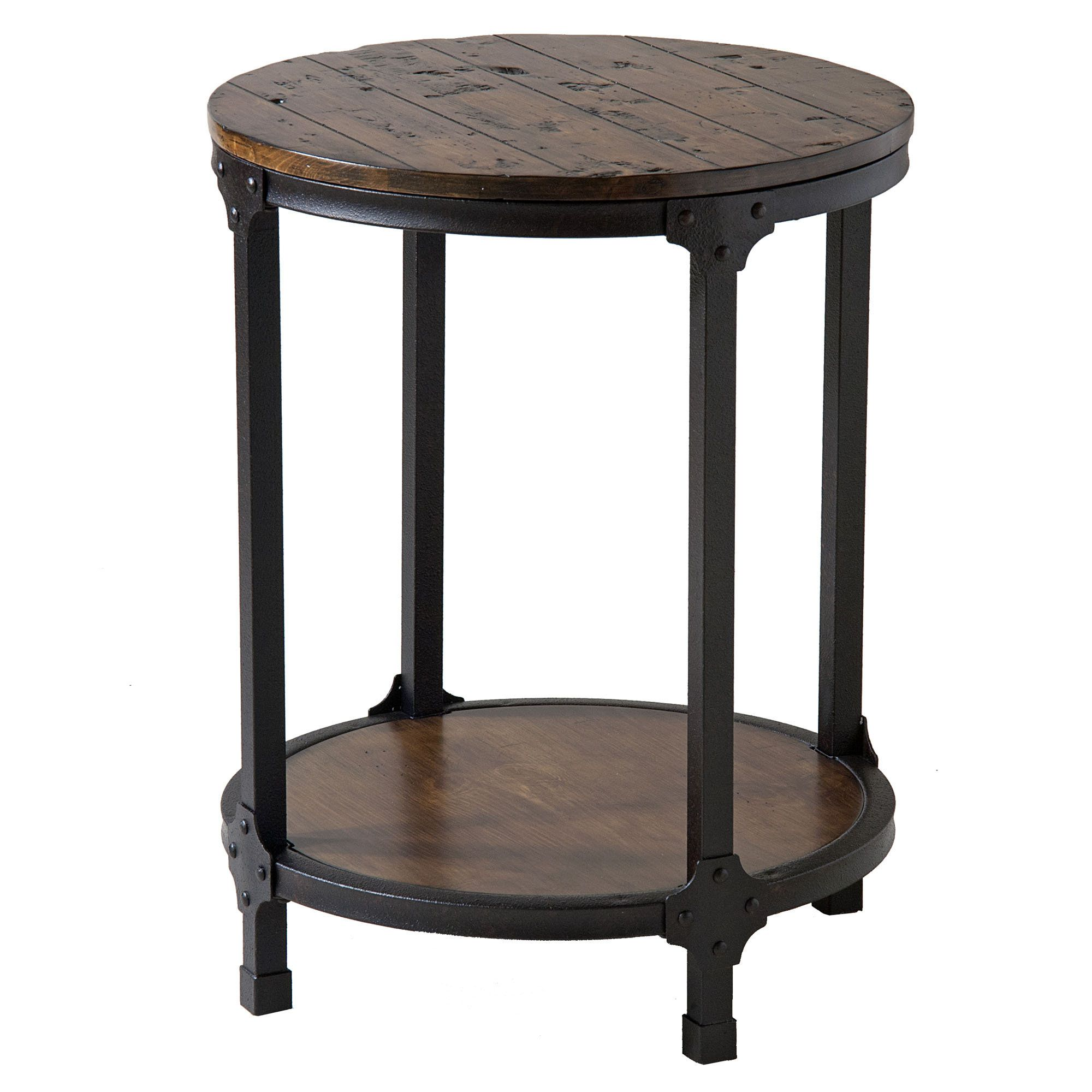 industrial metal round side table Home Macon Rustic Round
