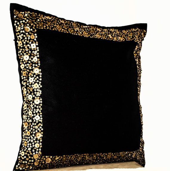 decorative throw pillows black cushion with gold by amorebeaute