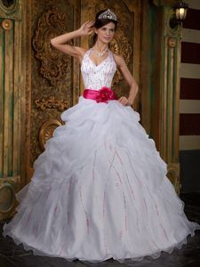 Stylish Halter Beaded White Organza Satin Sweet 15 Dresses with Flowers