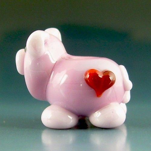 valenswine day pig handmade lampwork focal bead sra gelly