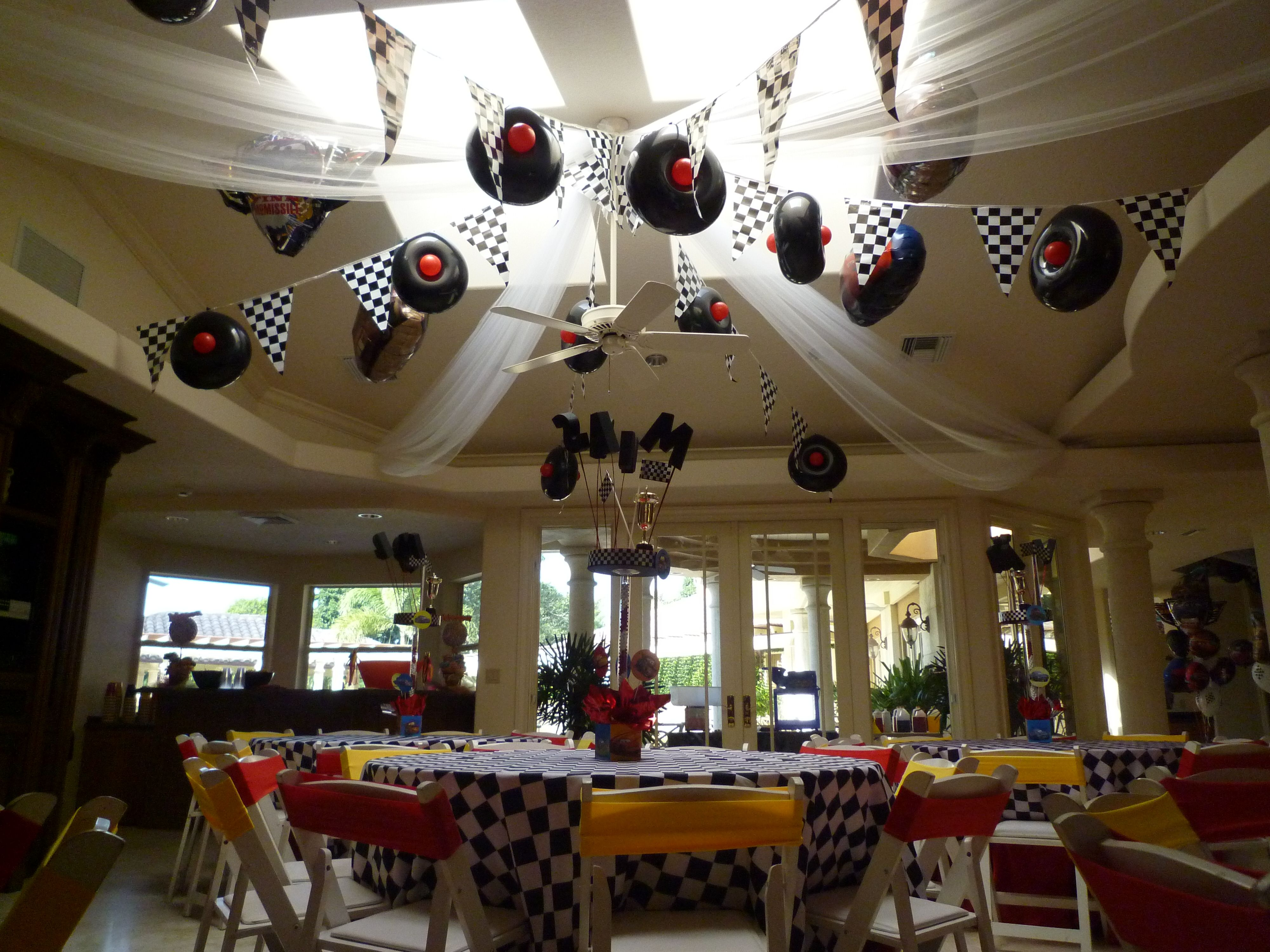 Kids Party Ceiling Decoration With Sport Theme Party Decoration Idea