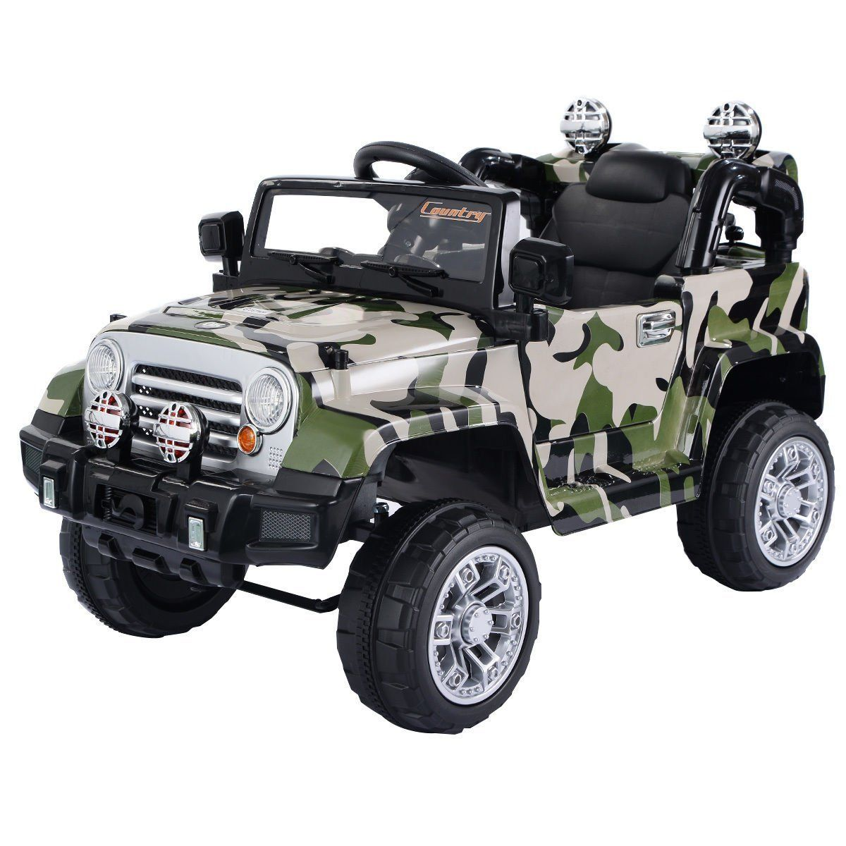 V Kids Camo Ride on Truck with MP  LED LightsTY