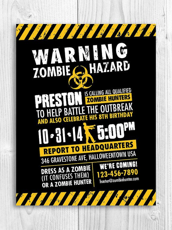 Zombie Hunter Invitation // zombie outbreak, infected ...