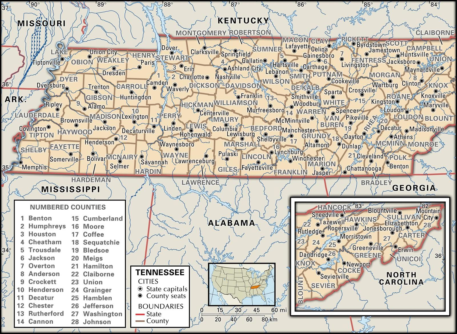 state map of tennessee showing counties State And County Maps Of Tennessee Tennessee Map County Map