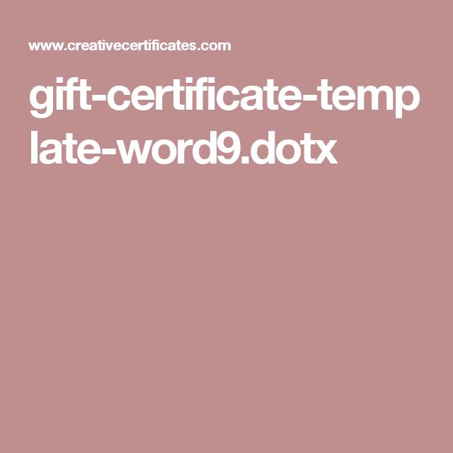 Gift Certificate Template Word9tx Business Ideas Pinterest