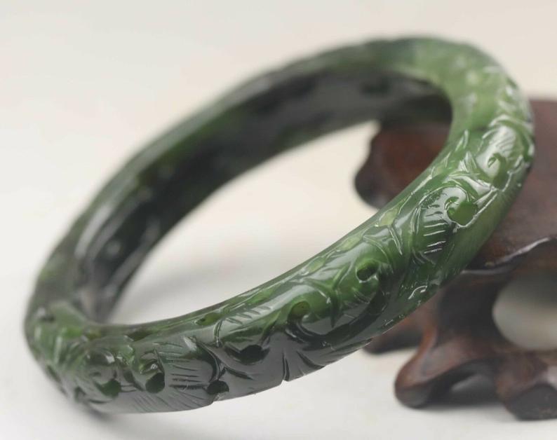 56 mm Natural Untreated Chinese Jade Bangle