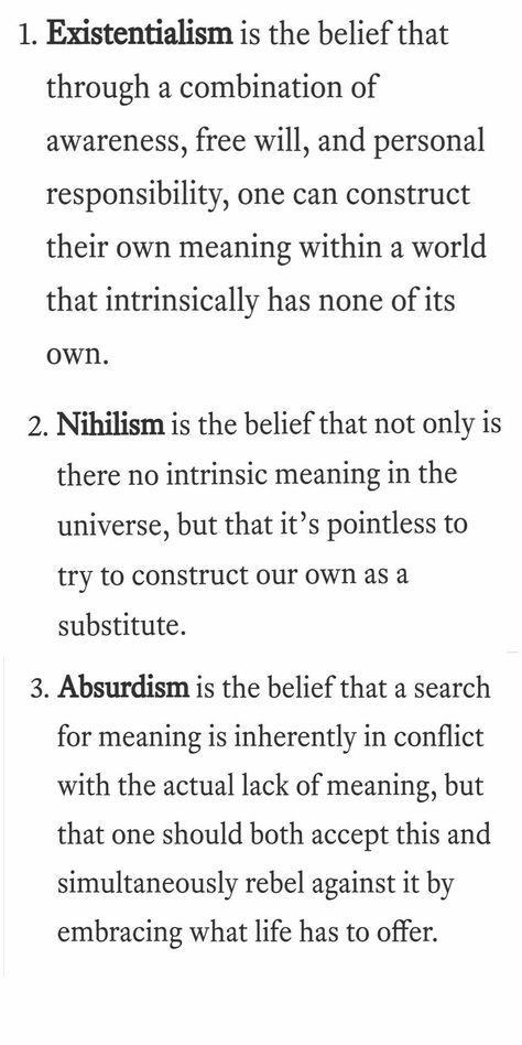 The Difference Between Existentialism Nihilism And Absurdism