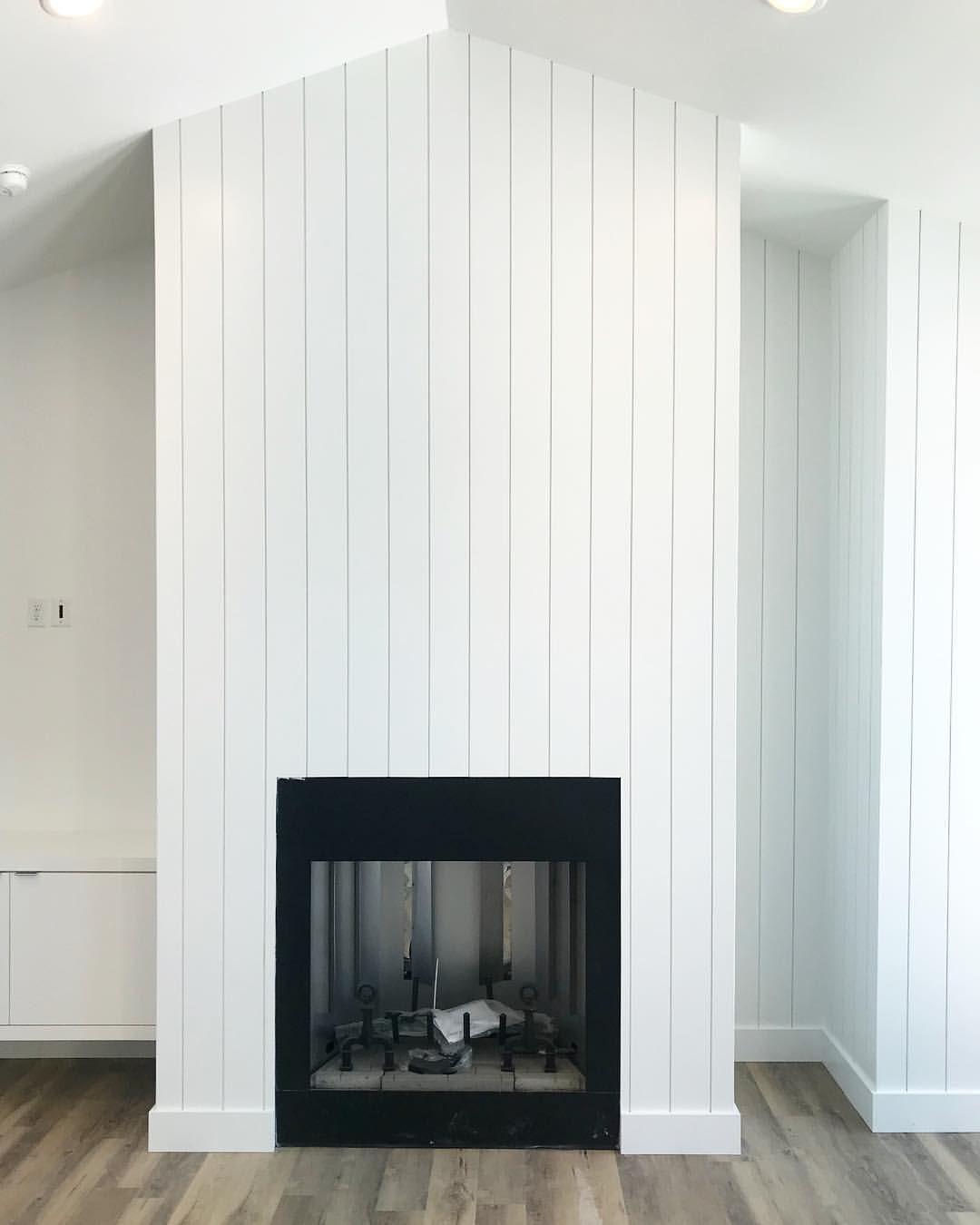 Vertical Shiplap In Benjaminmoore Chantillylace For This Fireplace Home Fireplace Fireplace Fireplace Modern Design
