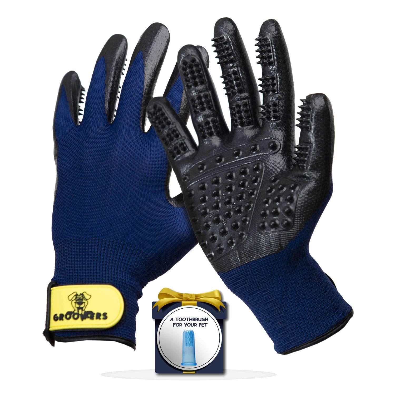 Pet Grooming Gloves Deshedding Glove Brush and Pet Hair