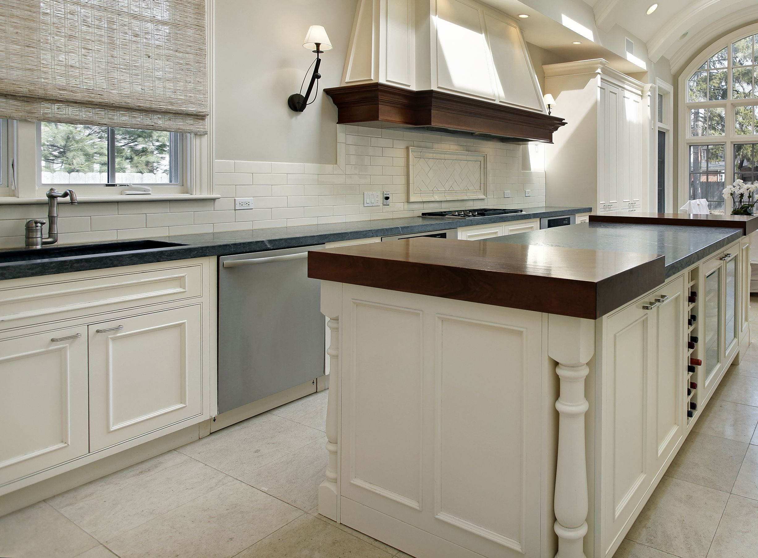 Classic White Kitchen With Wood And Stone Countertops Www