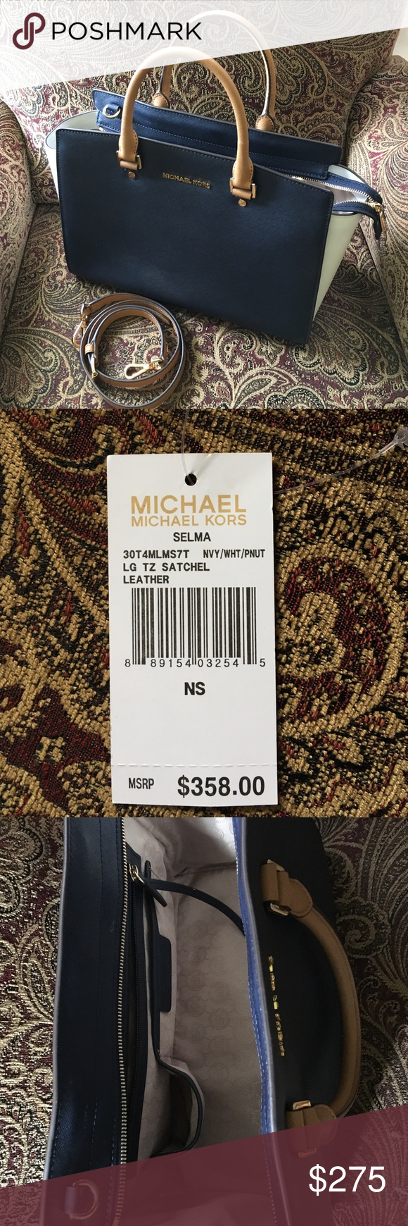 """Michael Kors """"Selma"""" Michael Kors Large Navy/White """"Selma"""" . Excellent condition, used once last year. Dust bag and detachable strap included Michael Kors Bags Satchels"""
