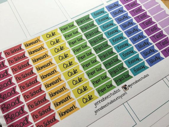 This listing is for one sheet of school related page flag reminder stickers…