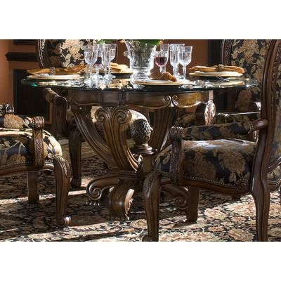 AICO Oppulente Single Pedestal Dining Table In Sienna Spice