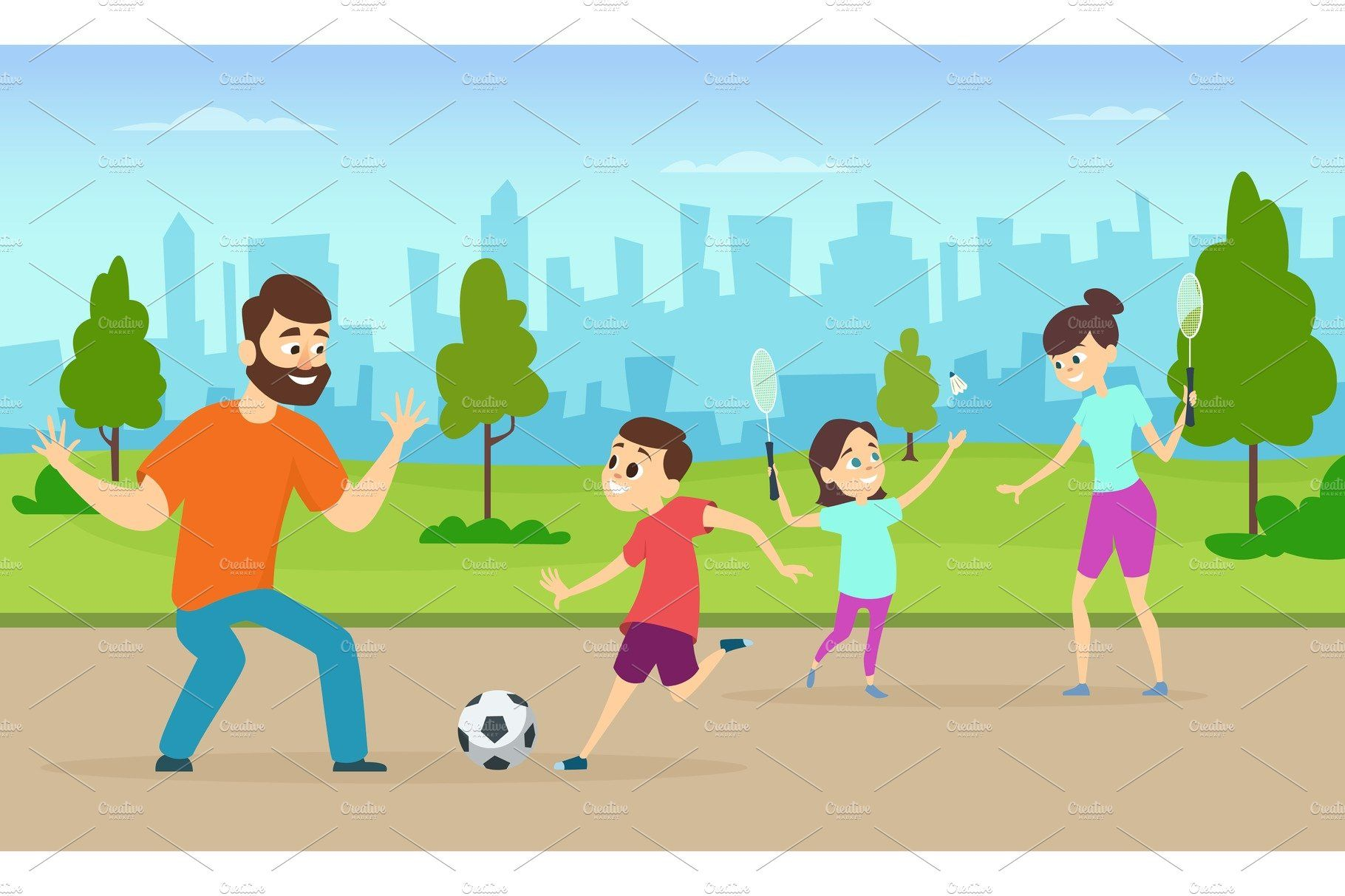 Illustrations Of Active Parents Playing Sport Games In Urban Park Funny Family Couples In Cartoon Style Family Cartoon Cartoon Styles Family Humor