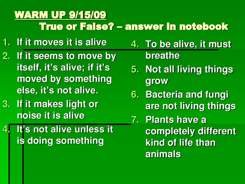 Six Characteristics Of Living Things