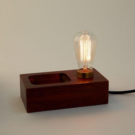 Wood Block Bulb Lamp West Elm Wood Lamps Lamp Shabby Chic Lamps