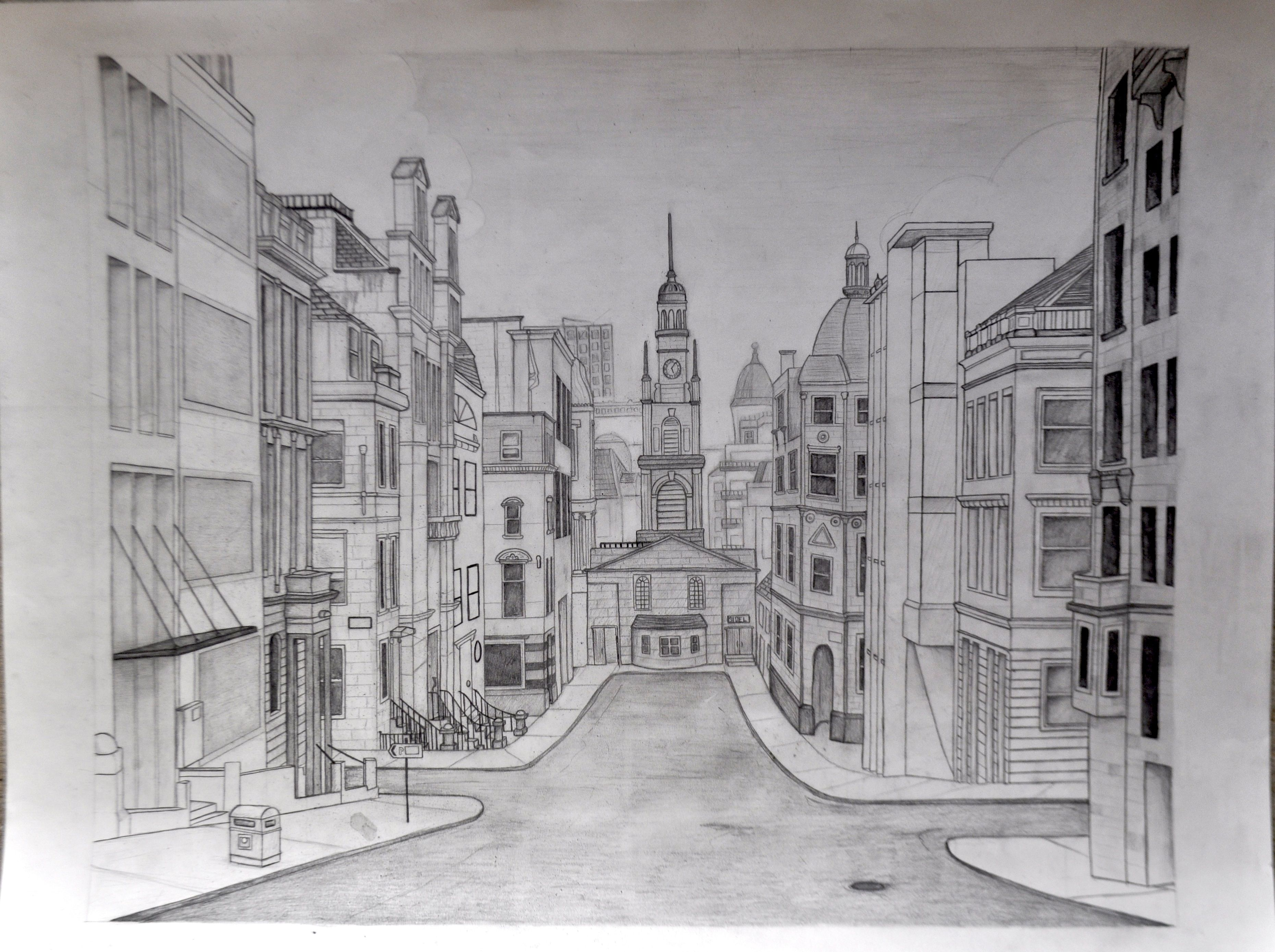 Perspective Drawings Of Buildings nice, more artistic street perspective | practicing perspective
