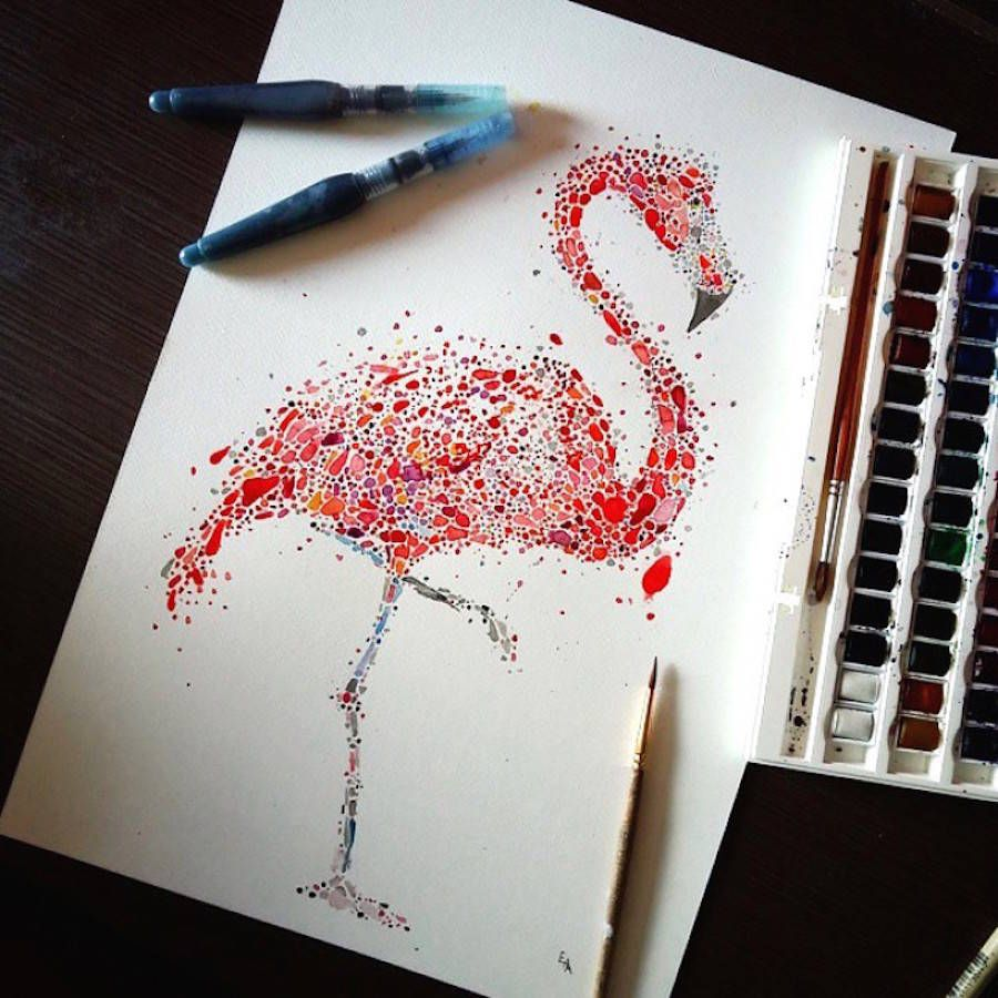 Animals Drawings Made with Multicolored Dots   Dotted drawings ...