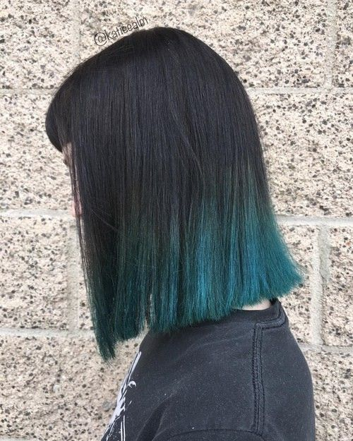 Black With Blue Dip Dye Hair Straight Lob Hair Styles For Thick Hair Dipped Hair Dip Dye Hair Hair Styles