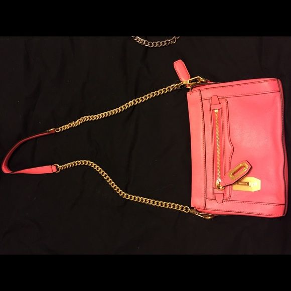 brand new mini cross body used once! fantastic condition, gold chain, and bright color Rebecca Minkoff Bags Crossbody Bags