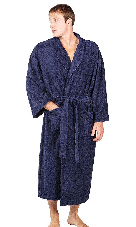 Men s Luxury Terry Cloth Bathrobe - Soft Spa Robe - Medieval blue -  C811LUKMP5J f18884f3ca0f