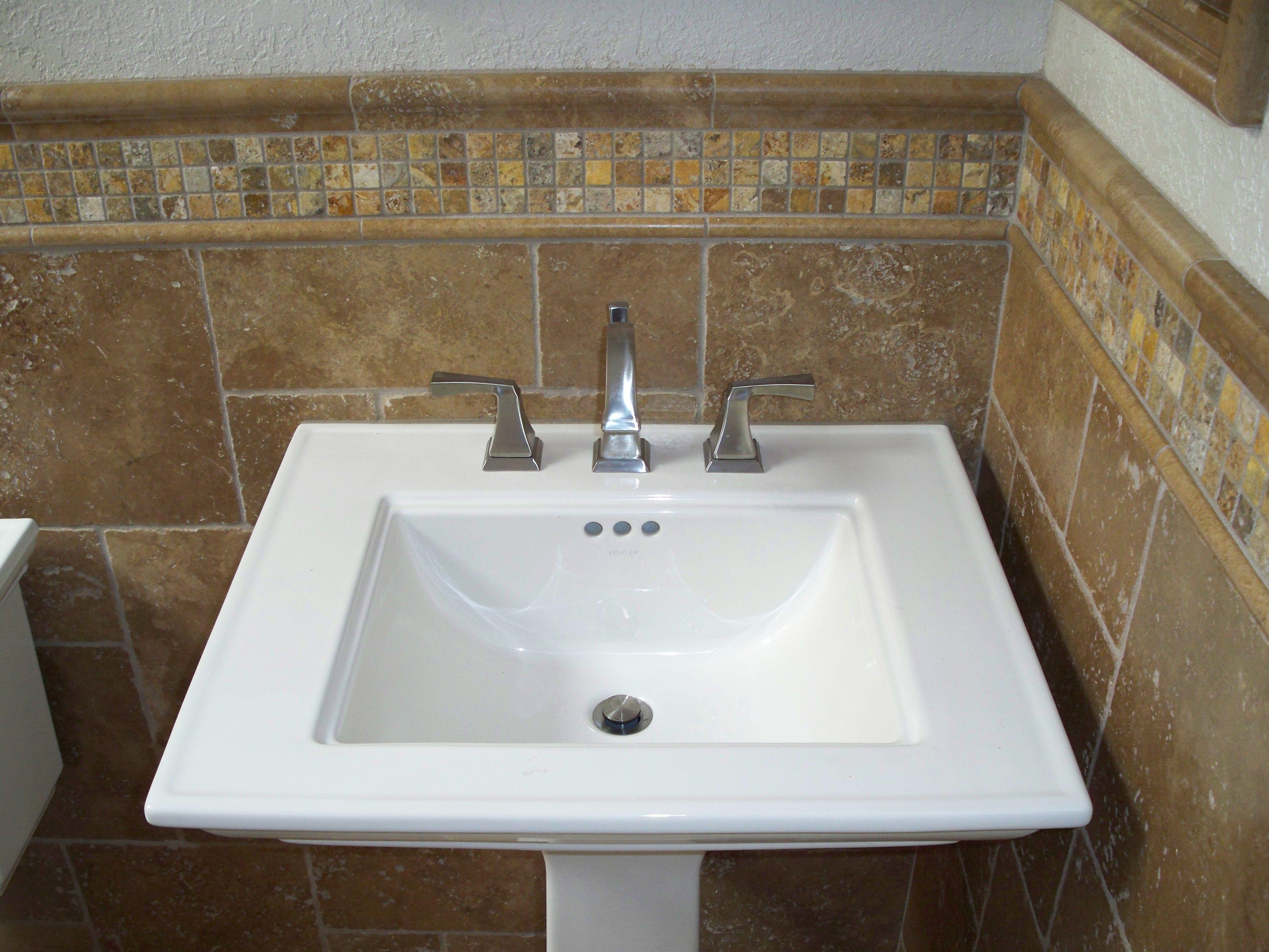 Autumn leaves 2x2 travertine mosaic tiles and noce tumbled for Bathroom tile philadelphia