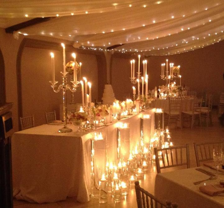 Candles And Fairy Lights Wedding Reception