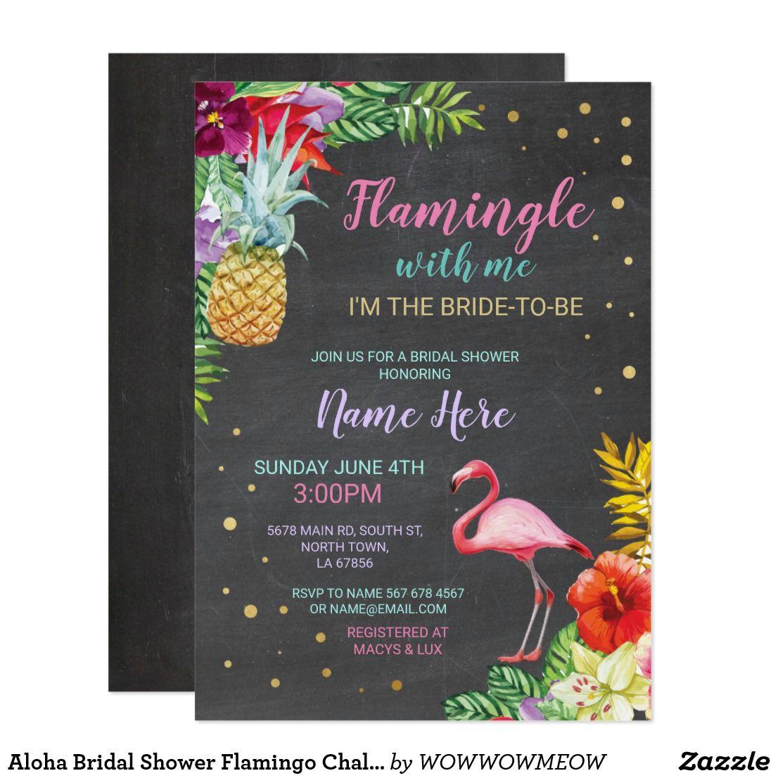 aloha bridal shower flamingo chalk gold invite zazzle com aloha bridal shower tropical baby shower invitations 40th birthday party invites pinterest