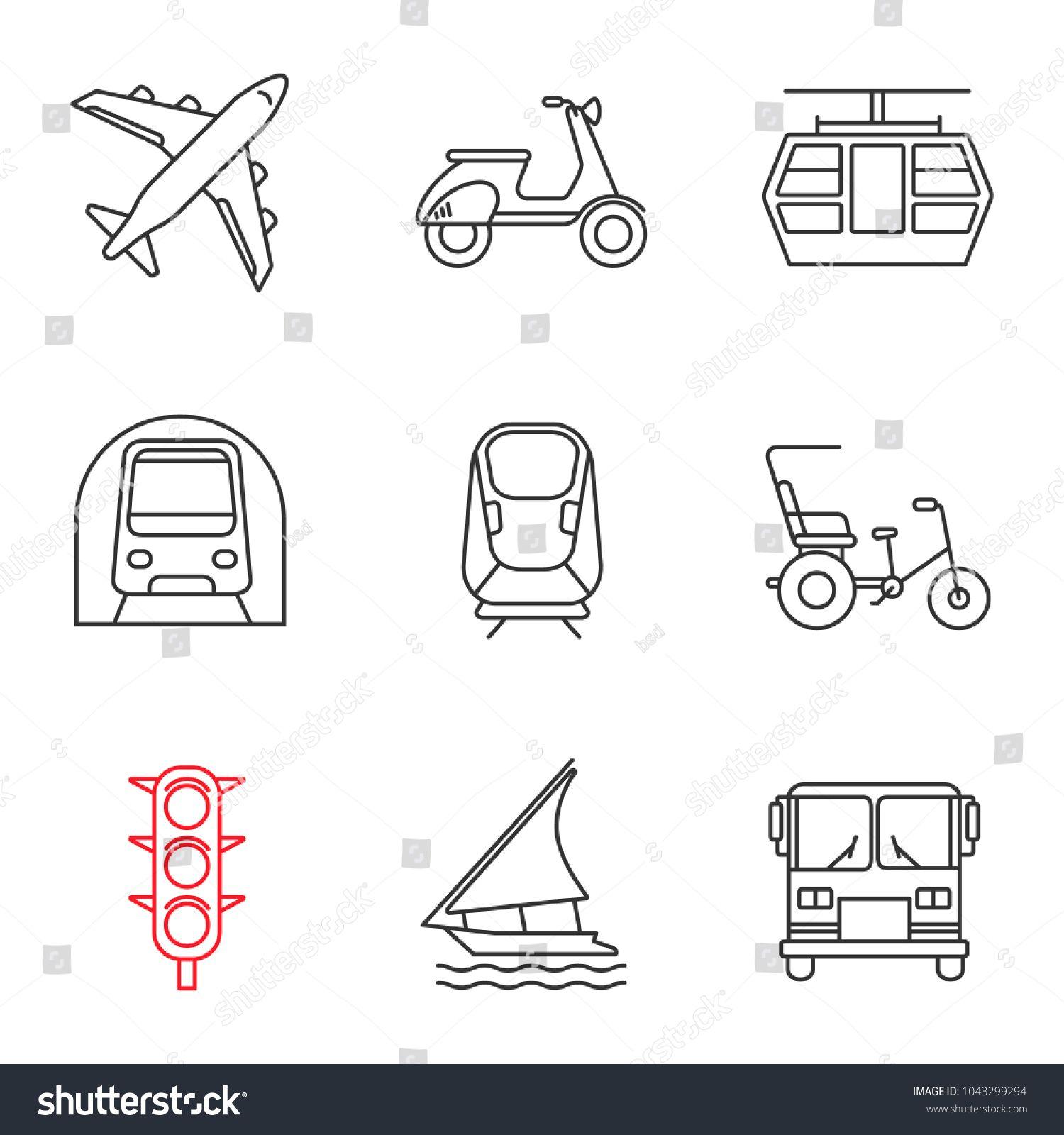 Public transport linear icons set. Thin line contour