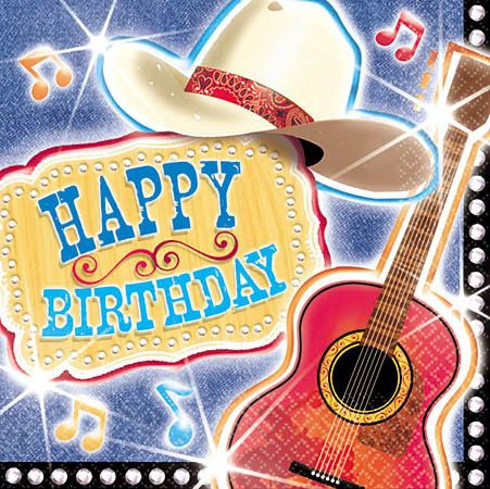 country music themed birthday party | MUSIC GIFTS: MISC. - Country Western Birthday Napkins, Music Theme ...