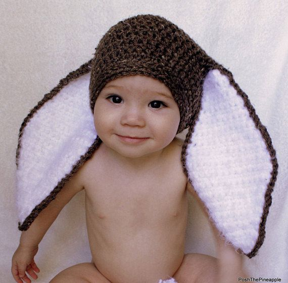 CROCHET PATTERN  Big Floppy Ear Bunny Rabbit Beanie  Hat. Baby ... 43ade62f048
