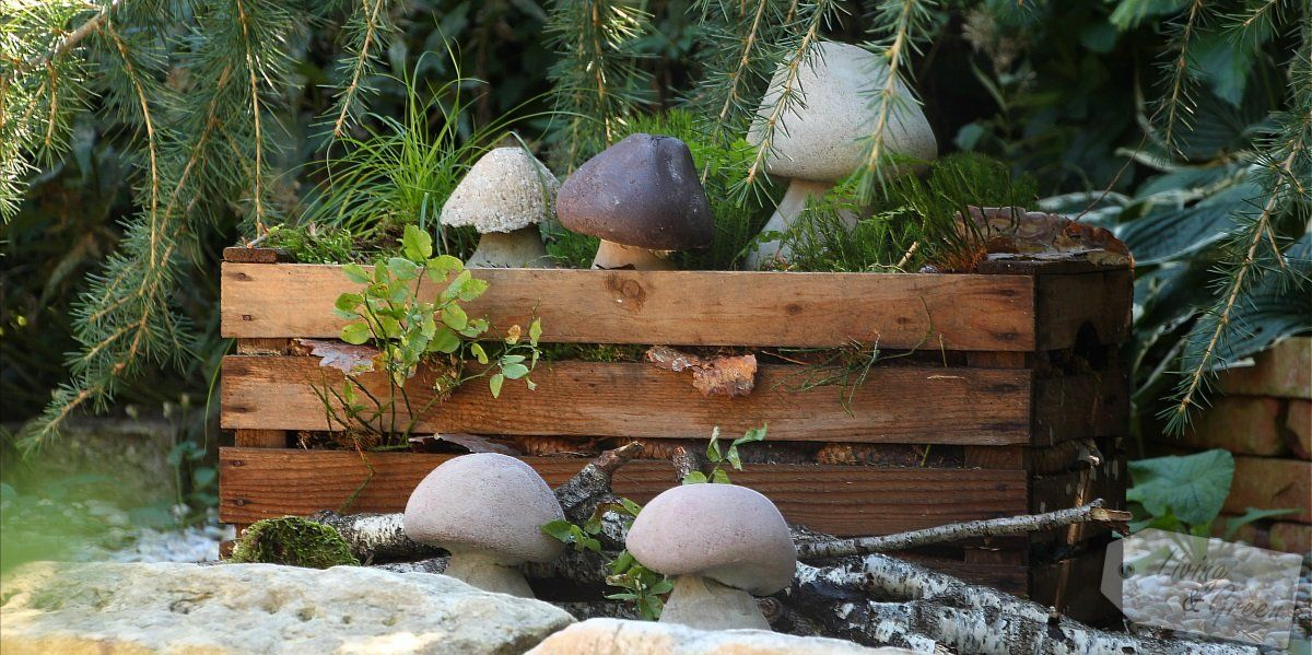 steinpilze betonschwammerl diy pilze aus beton anleitung bauen garten basteln. Black Bedroom Furniture Sets. Home Design Ideas
