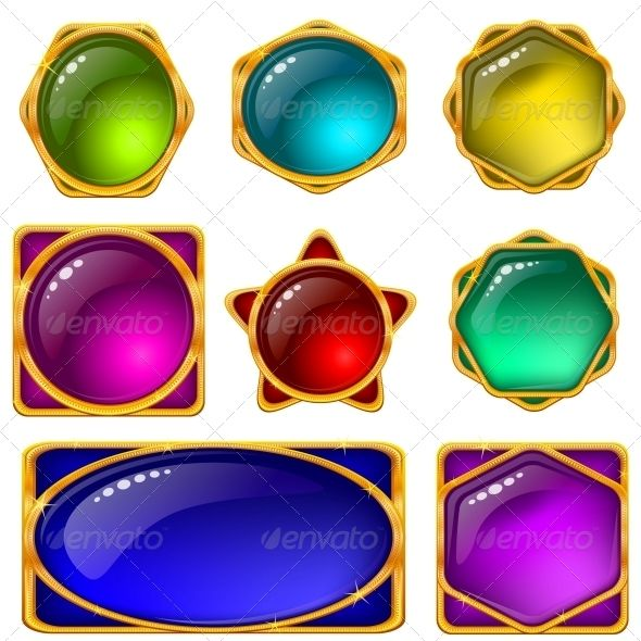 Crystal Gems Logo Icon: Buttons With Multicolored Gems , Set
