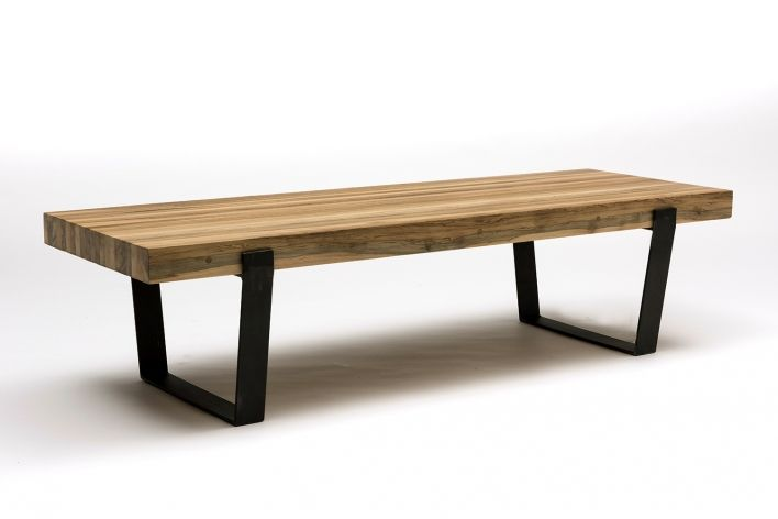 terry's slim coffee table. reclaimed timber top, steel frame