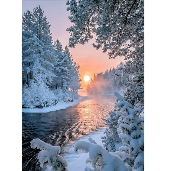Winter Schneeszene Fotografie Hintergrund mit Sonnenuntergang Photo Booth Hintergrund Art Studio Requisiten Thema Party Dekoration