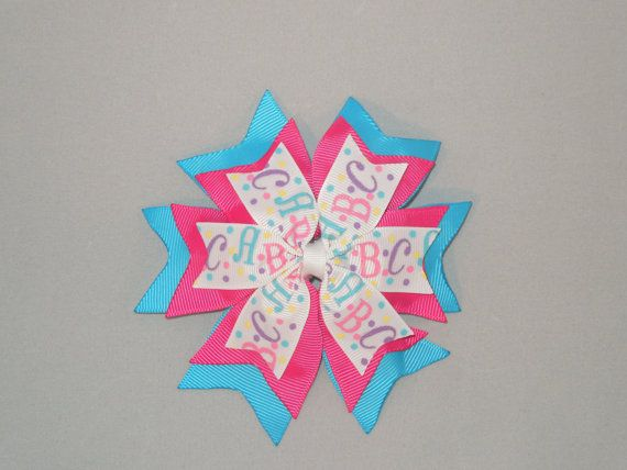 ABC Pinwheel Hairbow Back to School Hairbow by SewCuteBoutiqueBow, $5.95