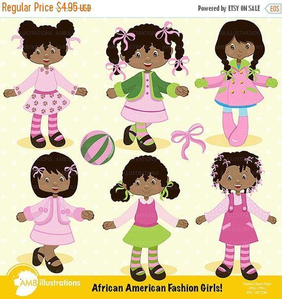 African American girls clipart, Fashion girl clipart, Dark skin ...
