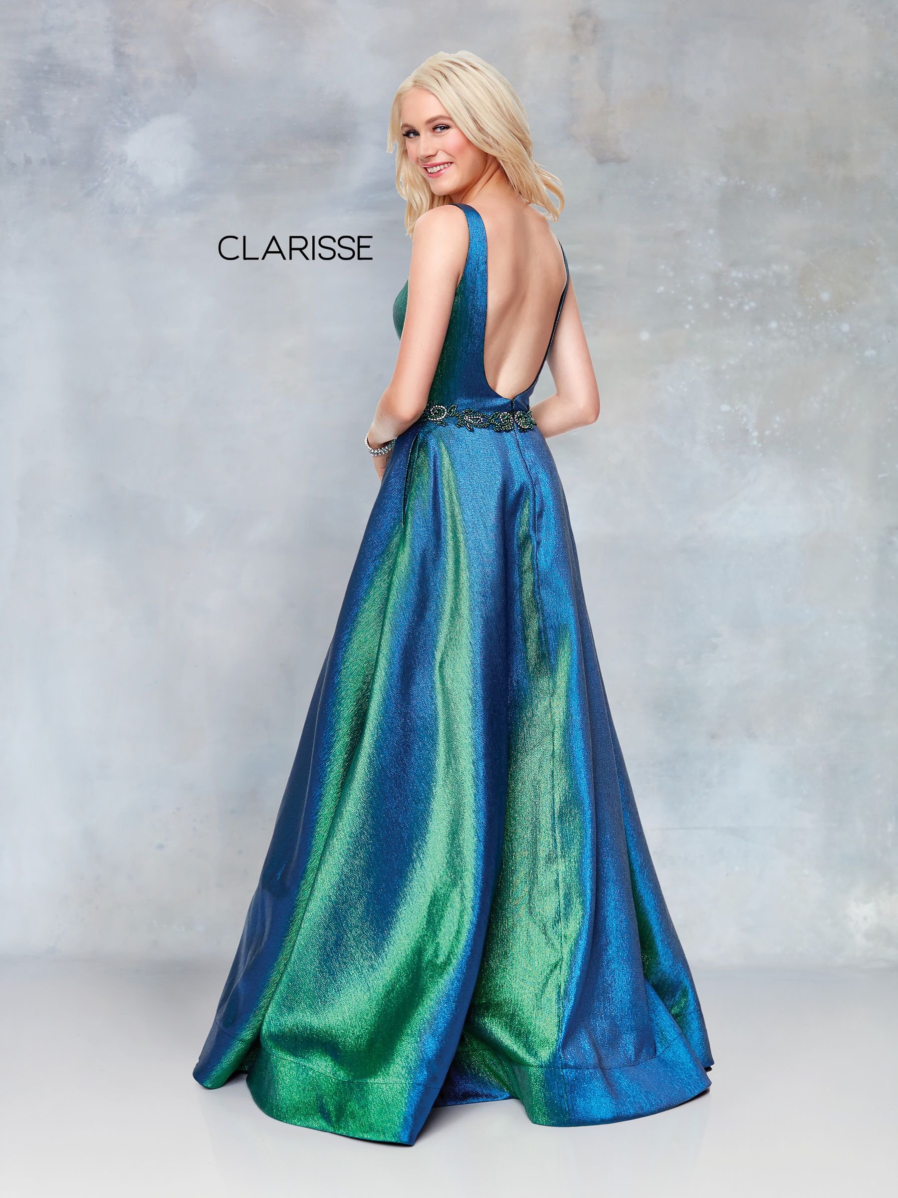 43f6fc24f81b 3859 - Iridescent Green novelty ball gown with a beaded belt and open back