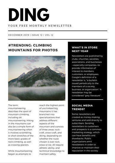 Black And White Modern Newsletter  Layouts