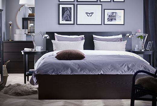 A Black Brown Hemnes Bed Frame With A Grey Comforter And White Striped Pillows A Side Table On Each Side Of The Bed W Ikea Bedroom Sets Malm Bed Ikea Malm Bed