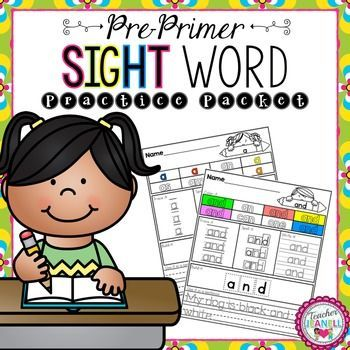 This sight word practice packet is designed to help your students practice all of the Dolch Pre-Primer sight words.