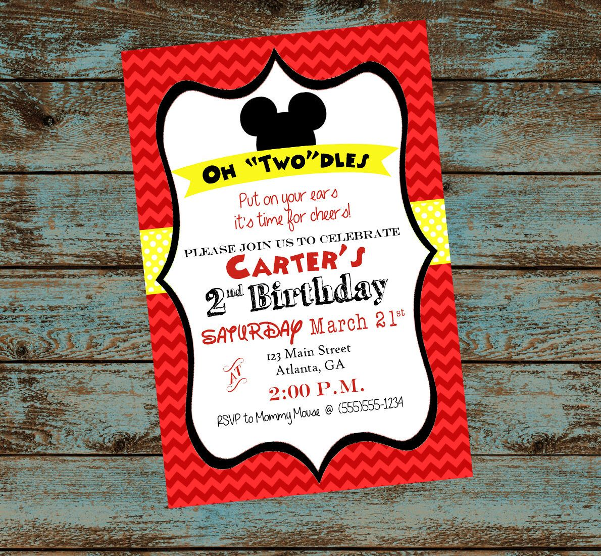 Mickey Mouse 2nd Birthday Party Invitation, Oh Twodles! Red Chevron ...