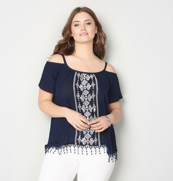 0b4ce18a13b Avenue Embroidered Cold Shoulder Peasant Top