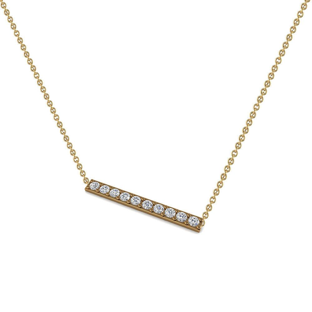 ed452fae010e Single Row Pave Diamond Bar Necklace 18k Yellow Gold Chain Fine Jewelry  Gifts  Handmade