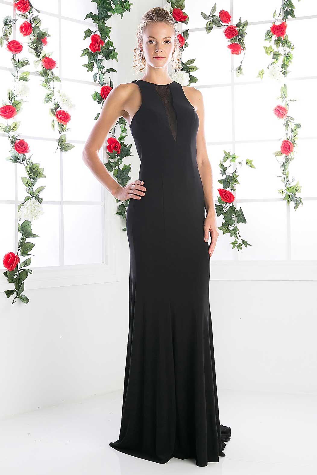 Evening long dress cdck solid color floor length sheath shape