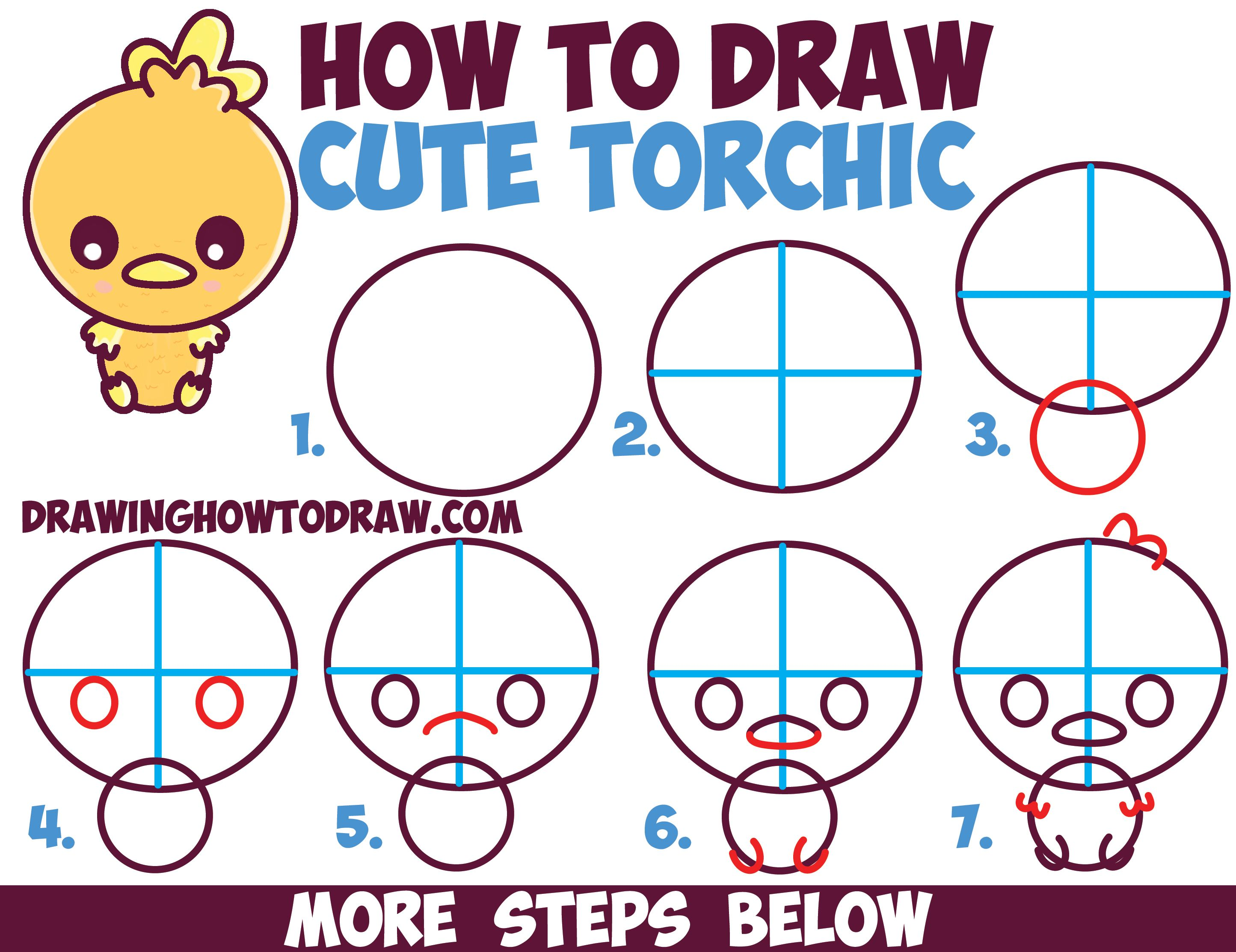 How To Draw Cute Torchic From Pokemon Chibi Kawaii Easy Steps Lesson For Kids