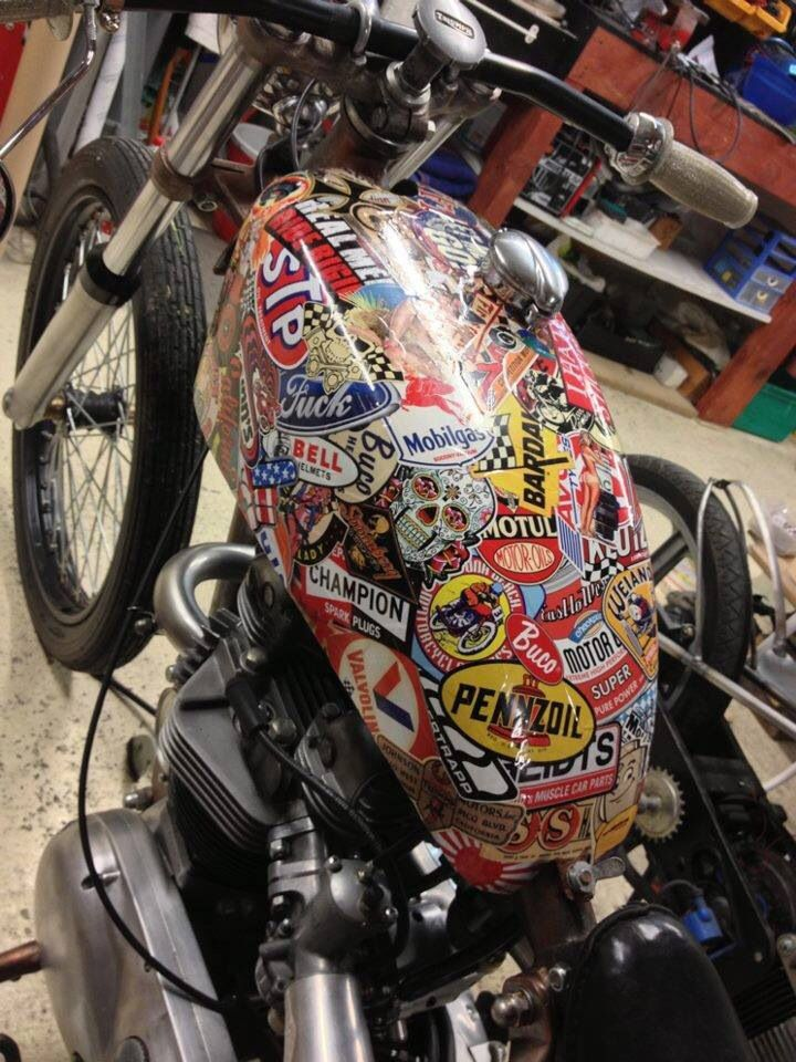 Pin By Axel Axelsson On Cafe Racer Sticker Bomb Tanks - Classic motorcycle custom stickers