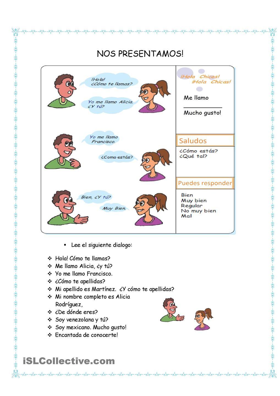 Nos presentamos | Spanish Instruction materials | Pinterest