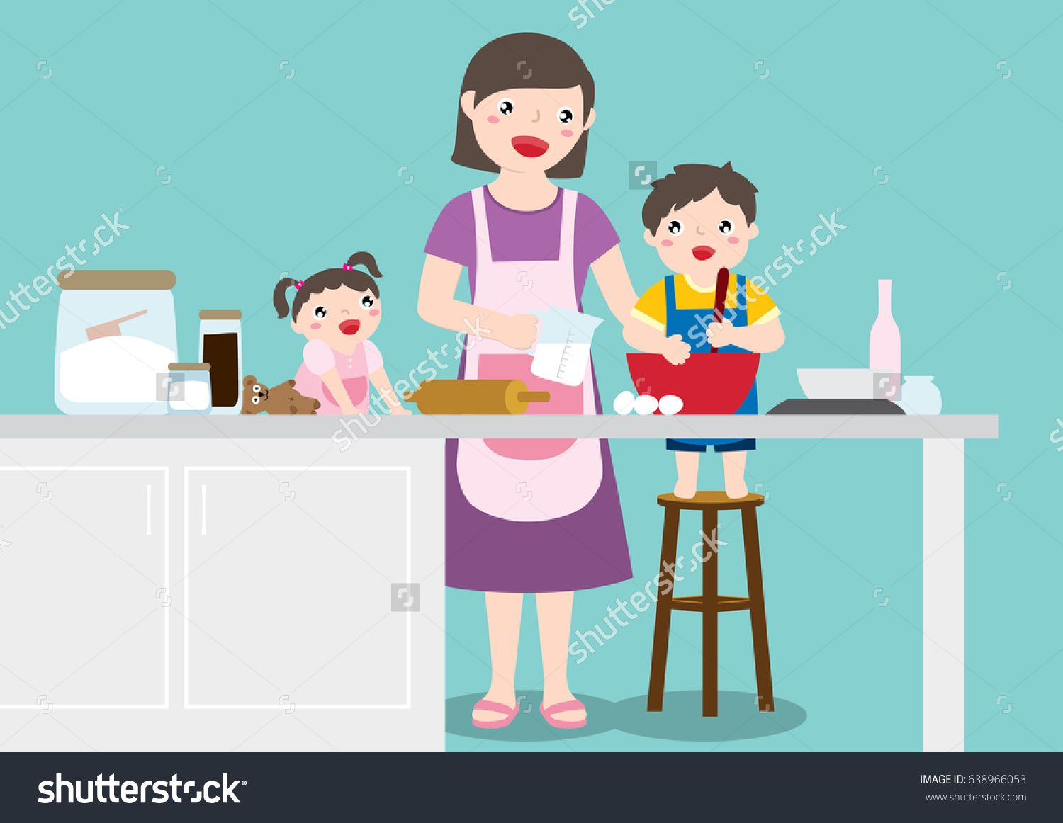 Drawing Of A Happy Family, Mother, Son And Daughter Enjoy Baking ...