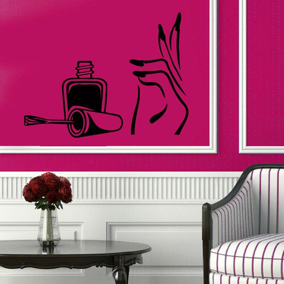 Manicure Wall Decals Girl Hand Spa Decor Nails Design Beauty Salon ...